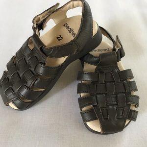 Toddler Pediped dark brown sandals